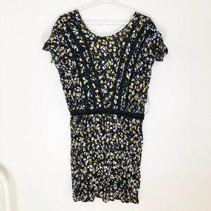 NWT Zara Lace Floral Yellow Cornflower Blue Dress